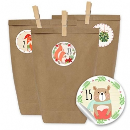 24 Adventskalender Kraftpapiertüten, Zahlenaufkleber und Klammern - DIY Set zum selber Basteln und zum Befüllen für Kinder - Mädchen und Jungen - Design 22 -