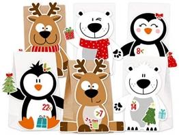 KuschelICH Adventskalender zum Befüllen Eisbär Rentier Pinguin - mit Stickern zum Gestalten und selber Basteln - Neuheit 2018 (X-Mas-Friends) -