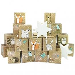 Papierdrachen DIY Adventskalender Kisten Set – Waldtiere - 24 Bunte Kisten zum Aufstellen und zum selber Befüllen - 24 Bunte Boxen I Schachteln -