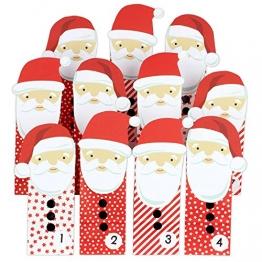 Papierdrachen DIY Adventskalender Weihnachtsmänner - mit roten Tüten - für Kinder - zum selber basteln und zum Befüllen -