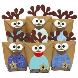 Papierdrachen DIY Adventskalender zum Befüllen Set Rentiere - Adventskalender 2018 - mit Blauen Bäuchen zum selber Basteln - 24 Tüten zum individuellen Gestalten und zum selber Füllen - Weihnachten -