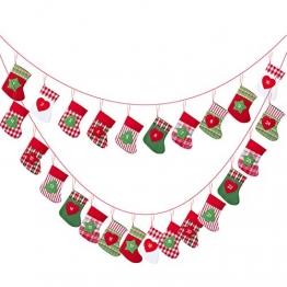 Kesote 24x Adventskalender zum Befüllen Aufängen Weihnachtskalender Kette Filz Säckchen Kinder Weihnachten Deko Strumpf (15 x 10 cm) - 1