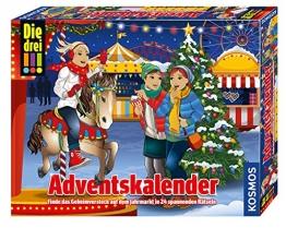 KOSMOS 634070 - Die drei !!! Adventskalender 2019, Finde das Geheimversteck auf dem Jahrmarkt in 24 spannenden Rätseln, Mit 24 Detektiv-Gimmicks, Interaktiver Spielzeug-Adventskalender für Kinder ab 8 - 1