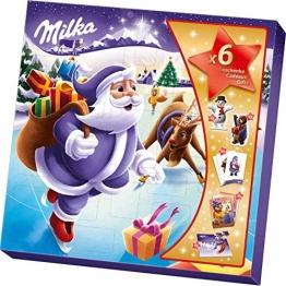 Milka Weihnachtsfreunde Adventskalender 1 x 143g, Mix aus 7 Milka Süßigkeiten, Zwei zufällige Designs - 1
