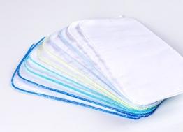 10 Stück Baby Molton Waschlappen 25x25cm Junge 5 Farben 100% Baumwolle bis 60° waschbar - das Original - der Klassiker: rezzu.® - 1