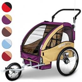 2 in 1 Jogger und Fahrradanhänger für bis zu 2 Kinder klappbar und gefedert (Farbwahl) - 1