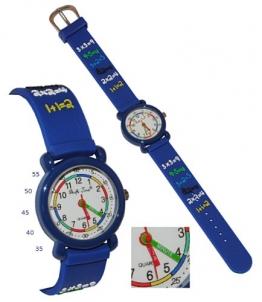 3-D Kinderuhr - Zahlen Rechnen / blau - Uhr Kinder Armbanduhr Silikon bunt Schule Mathe Mathematik Analog - Mädchen & Jungen - Uhrzeit lernen - 1
