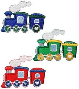 3 tlg. Set: Bügelbilder - Eisenbahn / Zug - 8,2 cm * 6 cm - Aufnäher Applikation - Züge Dampflok Lok - Lokomotive - Kinder Jungen - Bahnhof - Reise - 1