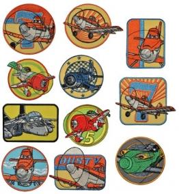 4 tlg. Set: Bügelbild - Disney Planes Sprühflugzeug- Dusty und seine Freunde- 8,6 cm * 6,8 cm - Aufnäher Applikation Flugzeug Piper Pawnee - 1
