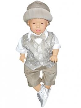 5 teiliger Sommer Kinderanzug Taufanzug mit Hemd, Hose, bestickter Weste, Fliege und Mütze, Größe 68-74, L23 - 1