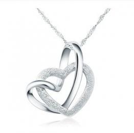 925 Sterling Silber Doppel liebe Herzen Halskette mit 45cm sterling Silber kette Schmuck - 1