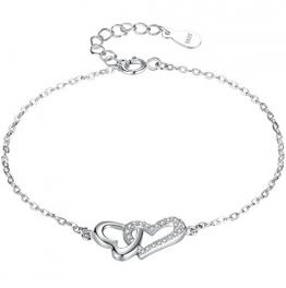 Arco Iris Schmuck Sterling Silber Verknüpften Herzen in der Liebe mit Zirkonia Armband für Frauen und Mädchen - sy008b1 - 1