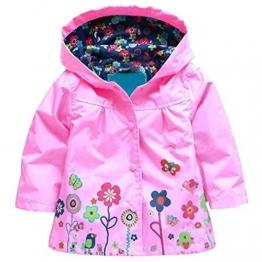 Arshiner Kinder Mädchen Blumenmuster Wasserdichte Regenmantel Regenjacke 5 Farben Wählbar - 1