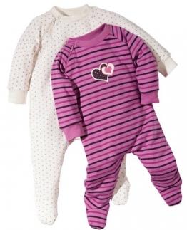 Baby Butt Schlafanzug 2er-Pack mit Druckmotiv Herz und Sterne Interlock-Jersey fuchsia Größe 86 / 92 - 1