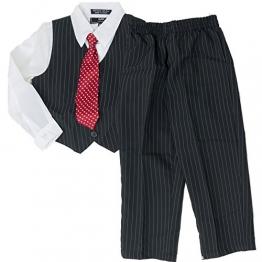 BAK Kinder festlicher Anzug Weste Hemd Hose Kravatte Nadelstreifen schwarz 104 - 1