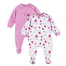 BORNINO Schlafoverall im 2er Pack Baby-Nachtwäsche Baby-Schlafanzug, Größe 86/92, rosa - 1