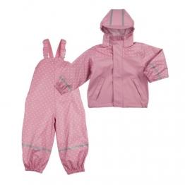 BORNINO Set Regenjacke und Regenlatzhose Baby-Regenbekleidung, Größe 74/80, rosa - 1