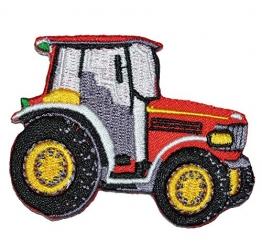 Bügelbild - Traktor rot - 7 cm * 5,5 cm - Aufnäher Applikation - gestickter Flicken - für Jungen Kinder Bauernhof Auto Fahrzeug - 1