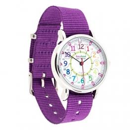 """EasyRead Time Teacher Kinderuhr, 12- & 24-Stunden """"Digital""""-Uhrzeit, Regenbogenfarben, Violettes Armband - 1"""