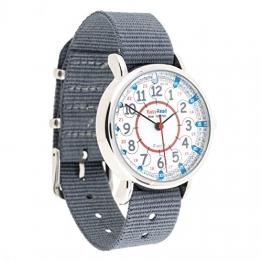 "EasyRead Time Teacher Kinderuhr, 12- & 24-Stunden ""Digital""-Uhrzeit, Rot-blau-graues Zifferblatt / Graues Armband - 1"