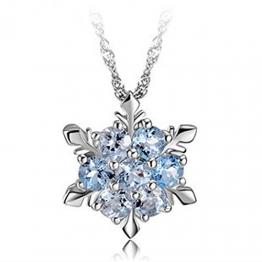 findout Damen swarovski Element Sterling Silber blauen Kristall Schneeflocke Halskette .für Frauen Mädchen Kinder. (f1465) - 1