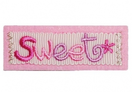 """Flicken """" Sweet """" 5,9 cm * 2,1 cm Bügelbild - Aufnäher Applikation süß rosa Stern Logo Prinzessin Süßigkeit - 1"""