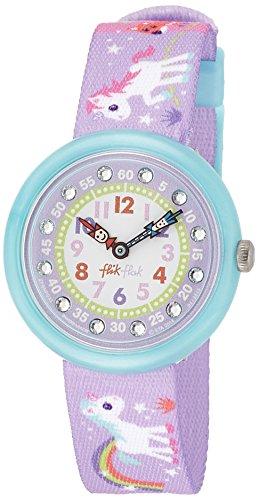 Flik Flak FBNP033 MAGICAL UNICORNS Uhr Mädchen Kinderuhr Einhorn Stoffband Kunststoff 30m Analog violett Zirkonia - 1