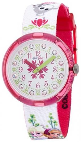 Flik Flak FLNP019 DISNEY FROZEN Uhr Mädchen Kinderuhr Stoffband Kunststoff 30m Analog weiß pink - 1