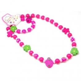Halskette und Armband mit hölzernen bemaltem Marienkäfer und Perlen für Mädchen - 1