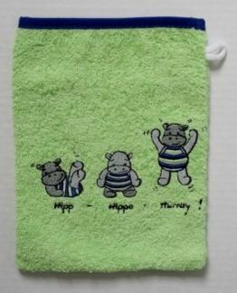 Hippo Waschhandschuh, Größe 15/21, Farbe: Apfel - Grün 100% Baumwolle von Mauz - 1
