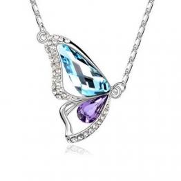 HolyPink TM - Swarovski Elements Kristall Schmetterling Anhänger Halskette Aquamarin Tansanit 18K Blau, Lila, Weiß -Gold überzogen - 1