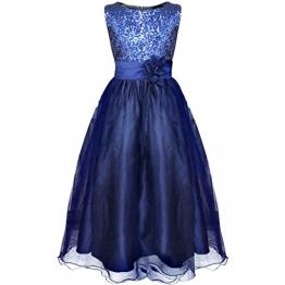 iEFiEL Mädchen Kinder Festliches Kleid Pailletten Prinzessin Kleid 104 110 116 122 128 134 140 152 164 (146-152, Marineblau) - 1