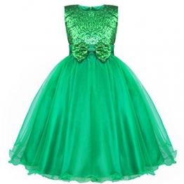 iEFiEL Mädchen Kleid Blumenmädchen Hochzeit Festlich Festzug Brautjungfer (110-116 (Herstellergröße:110), Grün) - 1