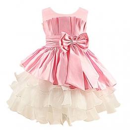JYou Mädchen Prinzessin-Kleid Ärmellos, Plissee-Kleid mit Schleife, Rosa Gr. 122/128( Herstellergröße: 130) - 1