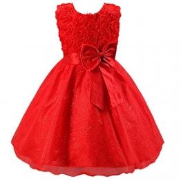 Katara 1424 - Blumen Mädchen festliches Abend Kleid mit Schleife, 104/110, rot - 1