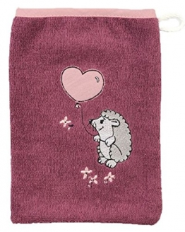 """Kinder Mädchen Waschhandschuh mit Stickerei """"Igel mit Herzballon"""", Farbe: Altrosa, Größe: 15 x 21 cm, 100% Baumwolle - 1"""