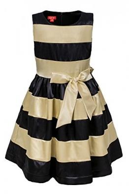 La-V Festliches Mädchenkleid gestreift schwarz-creme/Größe 146 - 1