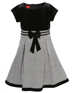 La-V Festliches Mädchenkleid mit Mini-Hahnentrittdesign schwarz/Größe 98 - 1