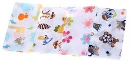 Lukis 4 Stück Baby Waschlappen Baumwolle Waschtücher mit Tier und Blumen - 1