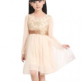 M&A Kinder Mädchen Prinzessin Kleid mit Ärmel, beige, Gr.146, (Herstellergröße: 15) - 1