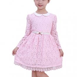 M&A Kinder Mädchen Spitzenkleid mit Ärmel, rosa, Gr.122/128, (Herstellergröße: 13) - 1