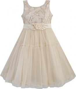 Mädchen Kleid Shinning Pailletten Beige Tüll Schichten Hochzeit Gr.116-122 - 1