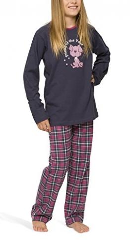 Mädchen Schlafanzug mit Flanellhose - Moonline, Farbe:navy;Größe:128 - 1