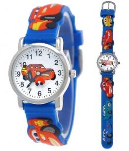 Pure Time Kinderuhr,Jungen/Mädchen Silikon/Kunststoff Armband Uhr mit Auto/Rennwagen/Car Motiv in Blau/Gelb/Rot/Weiß/Silber C201 - 1