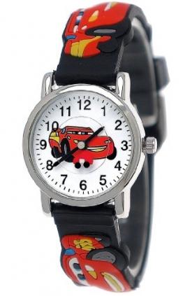 Pure Time Kinderuhr,Jungen/Mädchen Silikon/Kunststoff Armband Uhr mit Auto/Rennwagen/Car Motiv in Schwarz/Rot/Blau/Gelb/Weiß/Silber C202 - 1