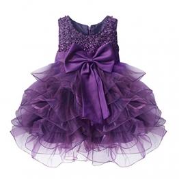 Tiaobug Baby Mädchen Kleid Kleidung Festlich Taufe Hochzeit Brautjungfer Abendkleid Lila 86 (Herstellergröße:75) - 1