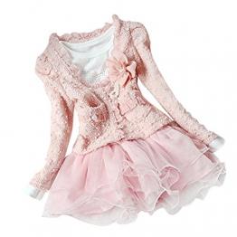 Tiaobug Kinder Bekleidung Set Winter Jacke Langarm Mädchen Kleid Hochzeit Festlich Rosa 98-104 - 1