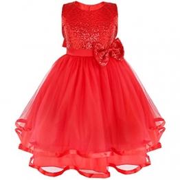 Tiaobug Mädchen Kinder Kleid Festlich Blumenmädchen Prinzessin Kleid Hochzeit Festzug Brautjungfer Rot 122-128 (Herstellergröße:130) - 1