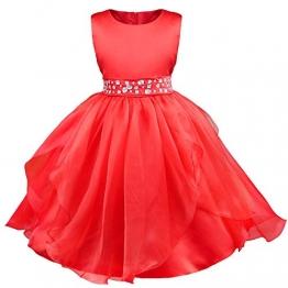 Tiaobug Mädchen Kinder Kleid Festlich Party Hochzeit Festzug Kleidung 98 110 116 128 134 140 152 (134-140 (Herstellergröße 150), Rot) - 1