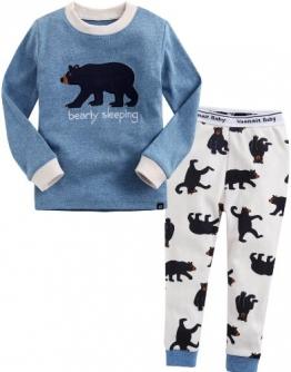 Vaenait Baby Säugling Kinder Langarm zweiteilige Schlafanzüge Set Animal Funny Bear Blue L - 1